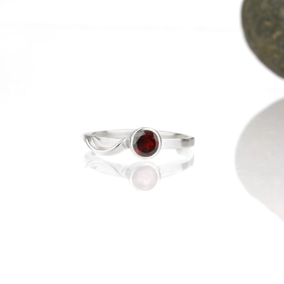 Cascade Ring with 5mm Garnet