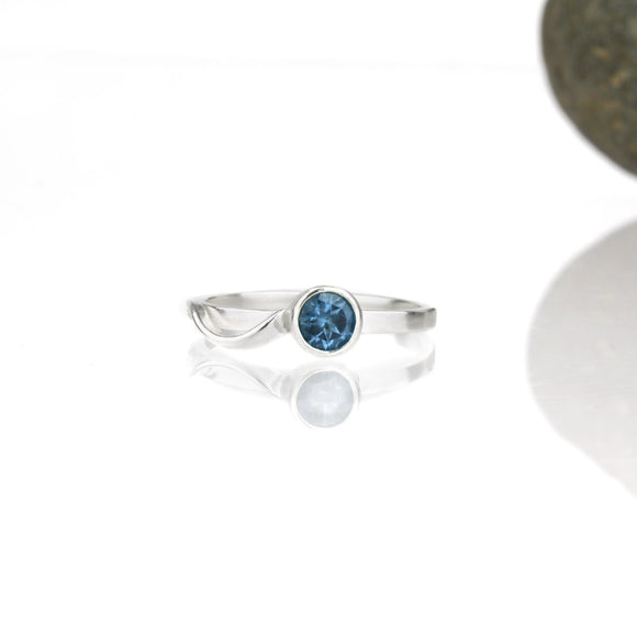 Cascade Ring with 5mm London Blue Topaz