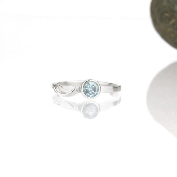 Cascade Ring with 5mm Sky Blue Topaz