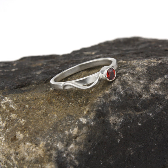 Cascade Ring with Garnet