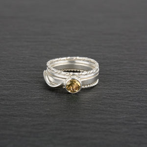 Stacking Rings with Citrine - Set of 4