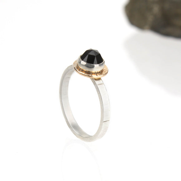 Compass Ring with Rose-cut Black Spinel