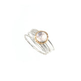 Compass Ring with Rose-cut Rose Quartz
