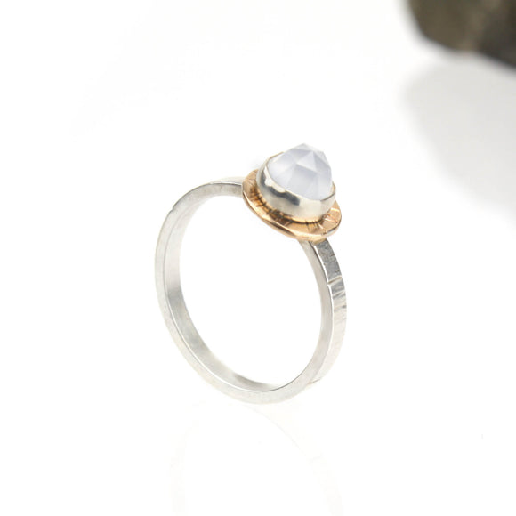Compass Ring with Rose-cut Blue Chalcedony