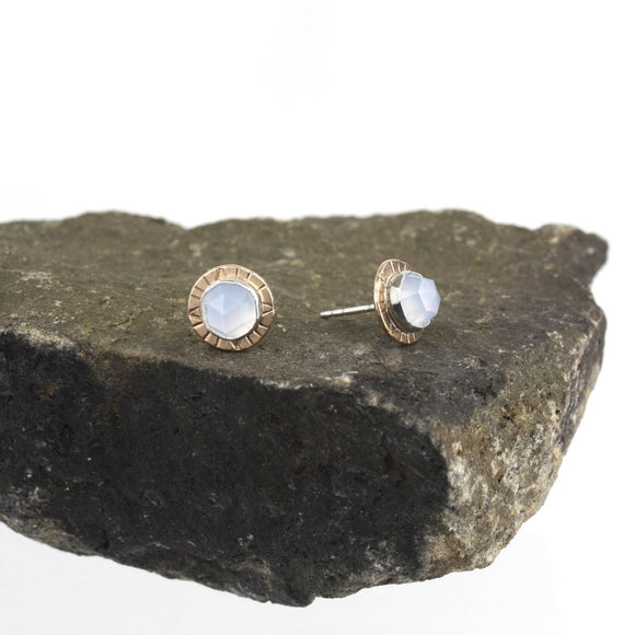 Compass Stud Earrings with Rose-cut Blue Chalcedony