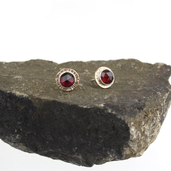 Compass Stud Earrings with Rose-cut Garnet