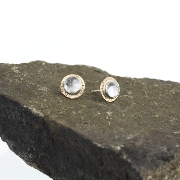 Compass Stud Earrings with Rose-cut White Topaz