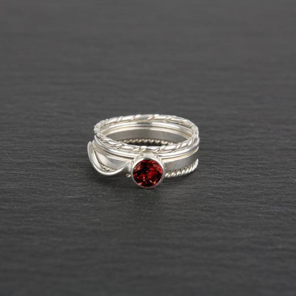 Stacking Rings with Garnet - Set of 4