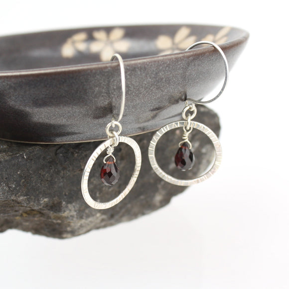 Navigator Earrings with Garnet
