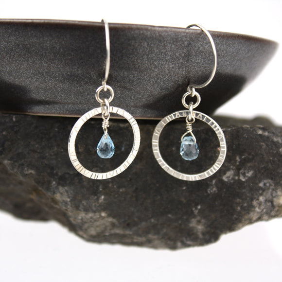 Navigator Earrings with Blue Topaz