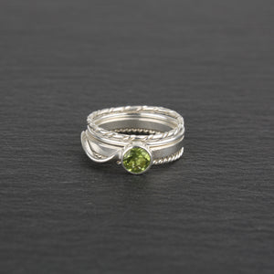 Stacking Rings with Peridot - Set of 4