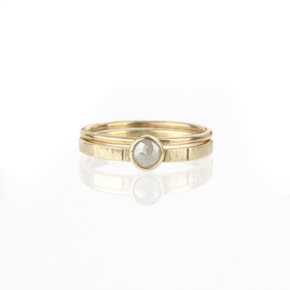 Rose-cut Diamond Set - 14k Yellow Gold
