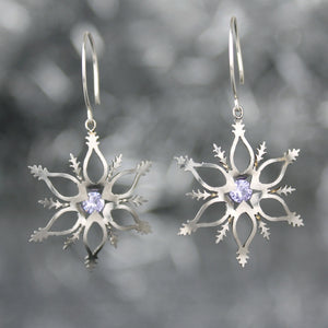 Snowflake Earrings with Lavender CZ