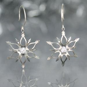 Snowflake Earrings with White CZ