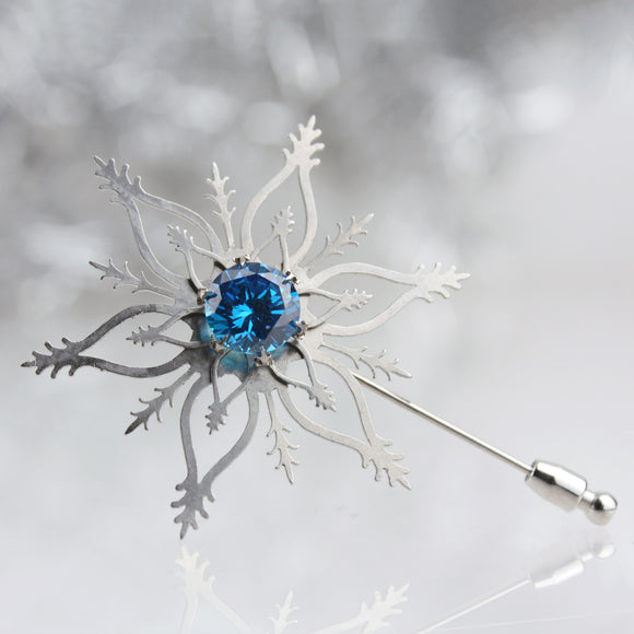 Snowflake Brooch with Deep Blue CZ