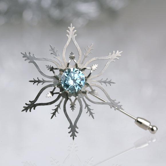 Snowflake Brooch with Light Blue CZ
