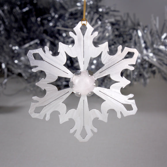 Snowflake Ornament with Rose Quartz