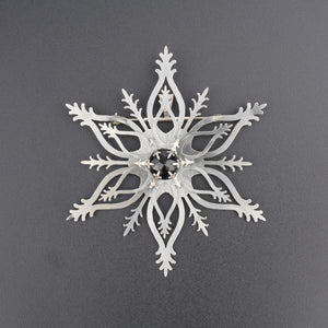 Snowflake Brooch with Black Onyx