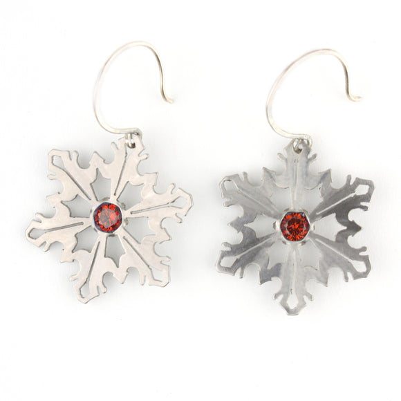 Snowflake Earrings with Red CZ