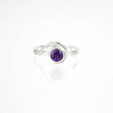 Spiral Ring with 5mm Amethyst