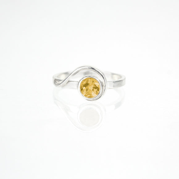 Spiral Ring with 5mm Citrine