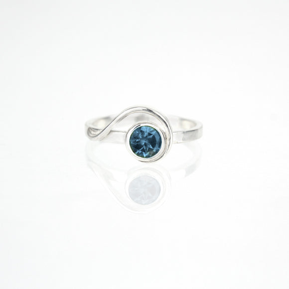 Sample Sale:  Spiral Ring with 5mm London Blue Topaz