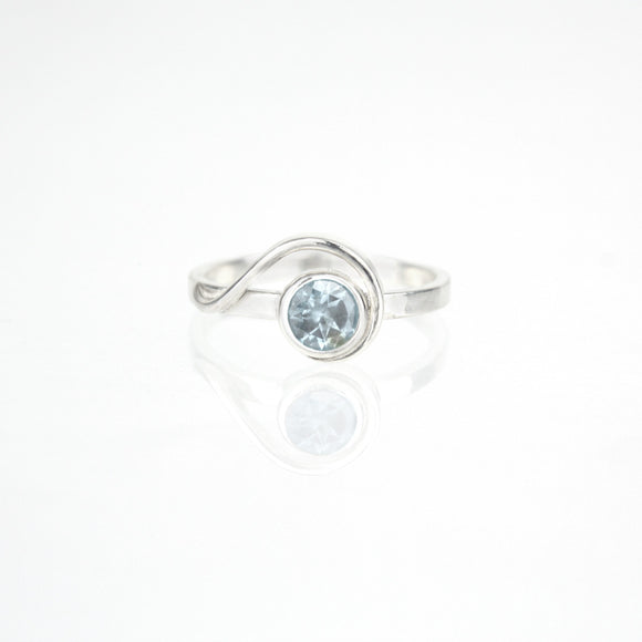 Spiral Ring with 5mm Sky Blue Topaz
