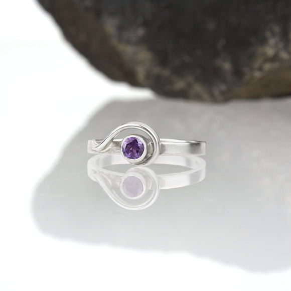 Spiral Ring with Amethyst