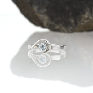 Spiral Ring with Sky Blue Topaz