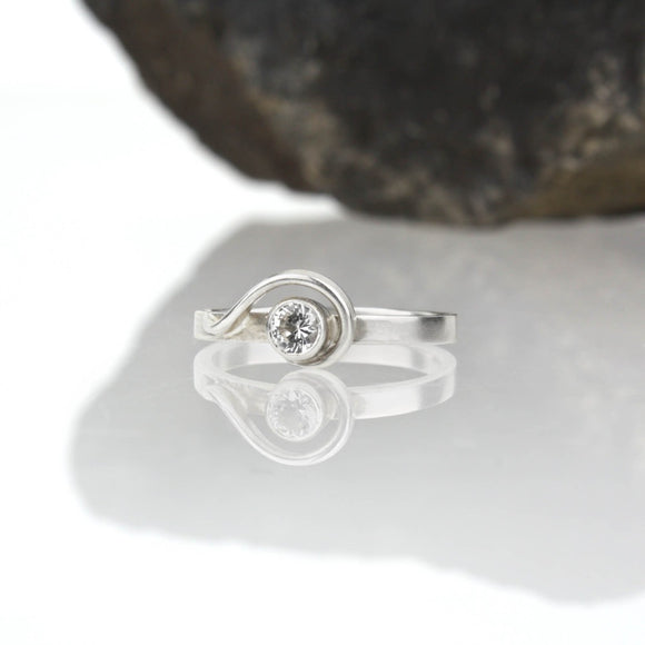 Spiral Ring with White Sapphire