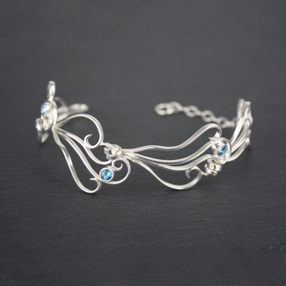 Zephyr Link Bracelet with Blue Topaz