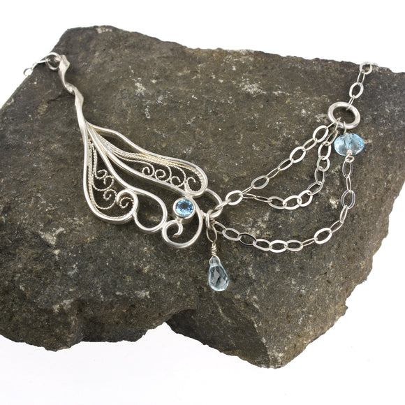 Zephyr Asymmetical Filigree Necklace - Blue Topaz
