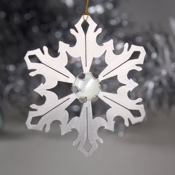 Snowflake Ornament with Mother of Pearl