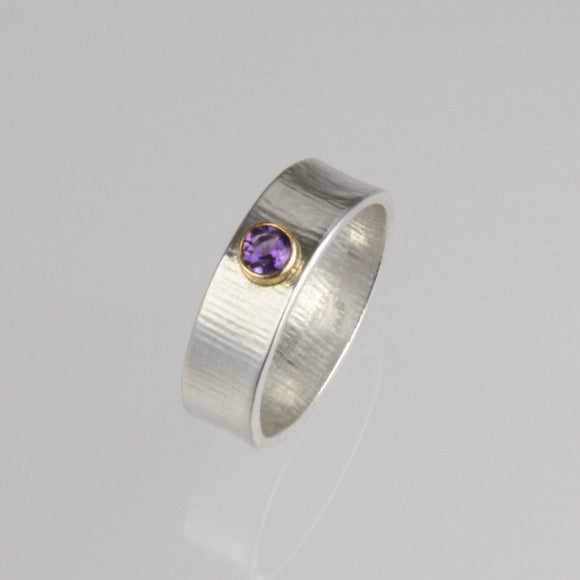 Wide Band Amethyst Ring, 14k Gold & Sterling Silver