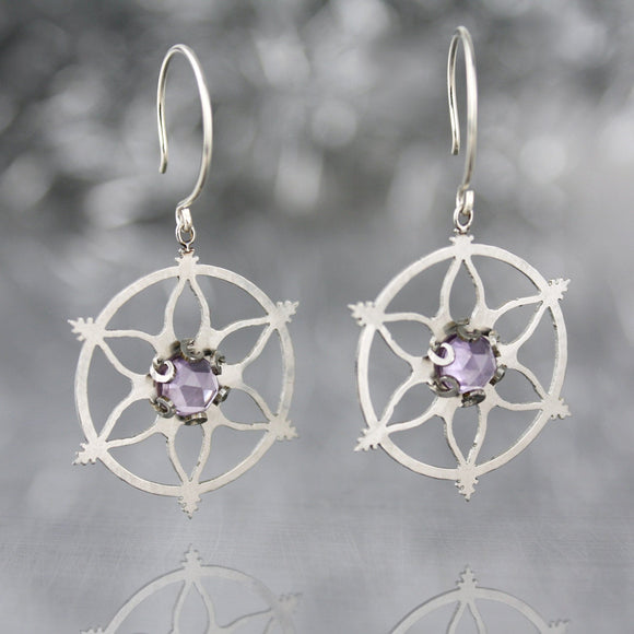 Snowflake Earrings with Amethyst