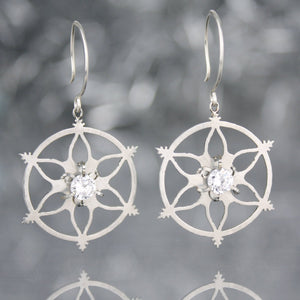 Snowflake Earrings with Cubic Zirconia