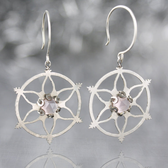 Snowflake Earrings with Rose Quartz