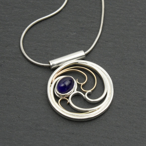 Iolite Necklace with 10k Gold