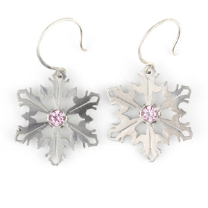Snowflake Earrings with Pink CZ
