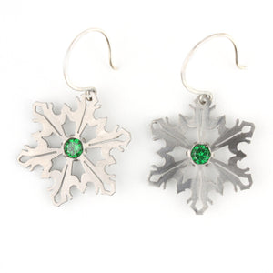 Snowflake Earrings with Green CZ