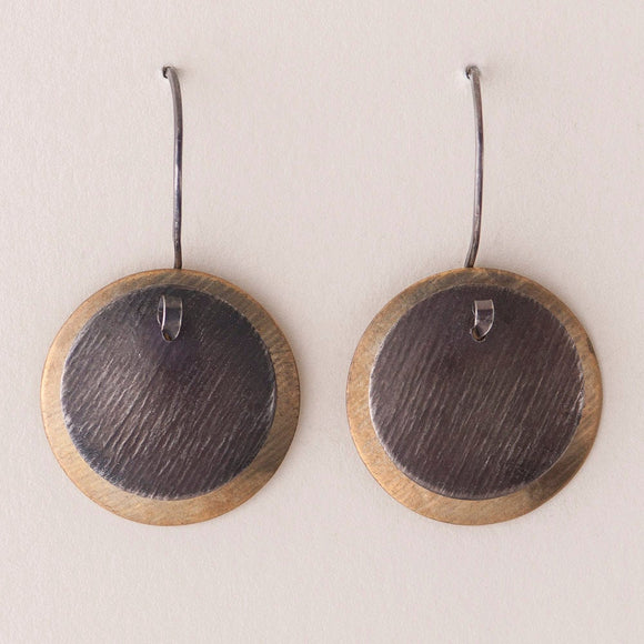 Classic Mod Earrings - Layered Disc Earrings -  Dark Silver & Brass