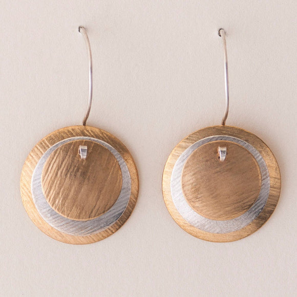 Classic Mod Earrings - Layered Disc Earrings -  Brass with Silver accent