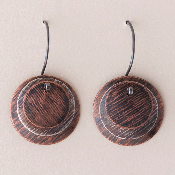 Classic Mod Earrings - Layered Disc Earrings -  Distressed Patina - Copper & Silver