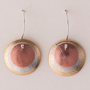 Classic Mod Earrings - Layered Disc Earrings -  Silver, Copper, & Brass