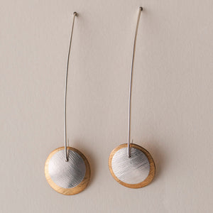 Classic Mod Earrings - Long Wire Layered Disc Earrings -  Brass & Silver