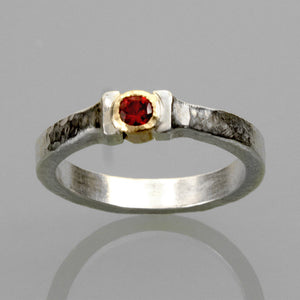 Rustic style Ruby ring with 14k gold setting