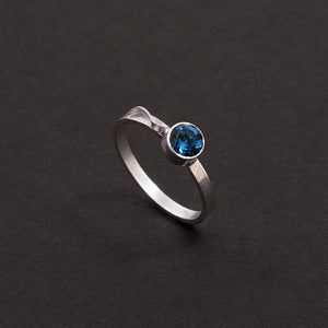 Stacking Ring - Blue Topaz (December Birthstone)