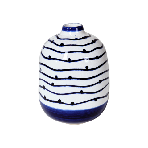 Navy Wave and Dot Vase