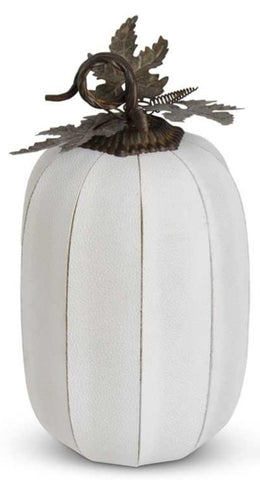 White Leather Pumpkin Oval Large