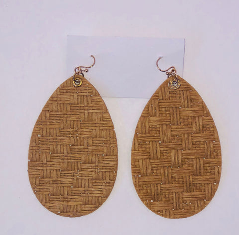 Dark Raffia Pear Earrings